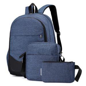 Damen Herren 3 STÜCKE Reisen Laptop Taschen Schultasche Rucksack Umhängetaschen Rucksack Farbe : Dunkelblau
