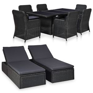 Huicheng Poly Rattan 9-tlg. Garten Essgruppe Sitzgruppe mit 2 Sonnenliegen 6 Rattansessel Glasplatte Tisch Schwarz