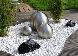 Kugelbrunnen 3er-Set 30/25/20 cm Edelstahl matt incl. LED Komplettset Garten