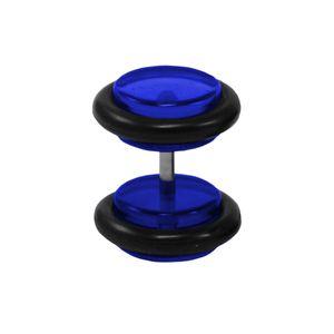 1 Stück Fake Plug Ohrstecker Größe - 6 mm Farbe - Blau rund 316L Chirurgenstahl Ohrschmuck Ohrringe Ohrhänger
