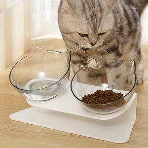 Haustier Futternapf Wasser Fressnapf Katzennapf schräge Schüssel für kleine Hund - Doppelschüssel