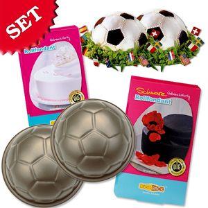 Fußball Back-Set, 2 Backformen plus Rollfondant schwarz u. weiß