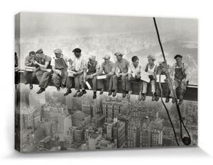 New York Poster Leinwandbild Auf Keilrahmen - Mittagspause Auf Einem Wolkenkratzer, 1932 (80 x 120 cm)