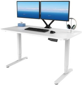 SANODESK Höhenverstellbarer Schreibtisch Elektrisch höhenverstellbares Tischgestell, 3-Fach-Teleskop mit der Tischplatte.