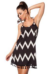 Träger Sommerkleid / Kleid in schwarz, weiß Größe L = 40