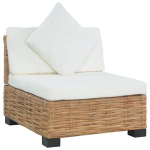 vidaXL Sofa ohne Armlehnen mit Auflagen Natur Rattan