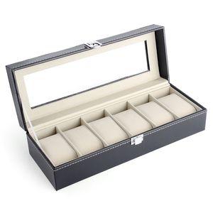 6 Steckplätze Aufbewahrungsbox Uhrenkoffer Uhrenbox Uhrenschatulle Uhrenkasten
