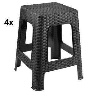 4x Hocker Rattan Badhocker Sitzhocker Stapelbar Kunststoff Campinghocker Anthrazit