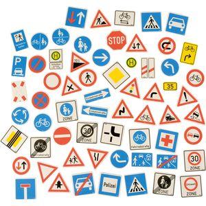 EDUPLAY 120488 Verkehrszeichen magnetisch, Kunststoff, mehrfarbig, 64-teilig (1 Set)