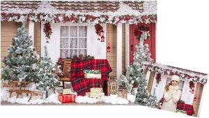 Fotoleinwand Studio Hintergrund Weihnachten Fenster Winter Zimmer Weihnachtsbaum Fotobox Hintergründe Kinder Baby Christmas Fotoshooting Kulisse 2.1x1.5m