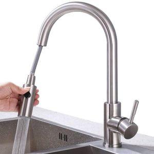 Küchenarmatur mit 2 Strahlen Wasserhahn Küche ausziehbar Spültischarmatur Edelstahl Armatur Küche mit Brause Mischbatterie Küche