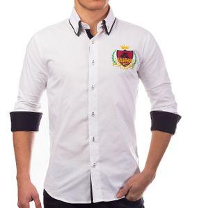 Herren Hemd Slim Fit Langarm Polo Shirt H1386, Farben:Weiß, Größe Hemd:L
