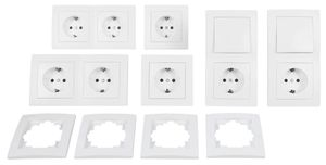 Premium Schalter und Steckdosen Set Flair Standard, 20-teilig, Weiß
