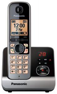 Panasonic KX-TG6721GB Schnurlostelefon mit Anrufbeantworter, Farbe: Schwarz/Silber