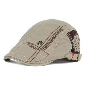 Männer Casual Baskenmütze Mütze Erreichte Stickerei Flache Kappe Baskenmütze Hüte Casquette Khaki