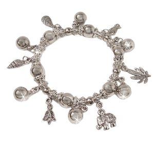 Armband Silber plattiert Bettelarmband dehnbar charms Schmuck A1516