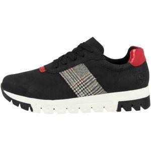 Rieker Damen Sneaker Schwarz/Rot , Schuhgröße:EUR 40