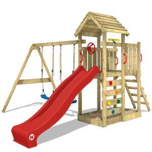 WICKEY Spielturm Klettergerüst MultiFlyer Holzdach mit Schaukel & roter Rutsche, Kletterturm mit Holzdach, Sandkasten, Leiter & Spiel-Zubehör