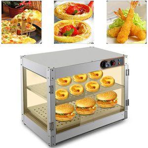 Doppelschicht Heißetheke Warmhaltevitrine Speisenwärmer Lebensmittelvitrine   Aufsatzvitrine    Warmhaltetheke Vitrine 30-85°C