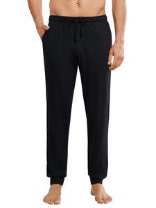 Schiesser Herren lange Schlafanzughose Loungehose mit Bündchen - 163839, Größe Herren:50, Farbe:schwarz