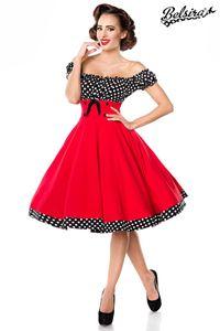 Belsira schulterfreies Swing-Kleid - rot/schwarz/weiß, Größe:XL