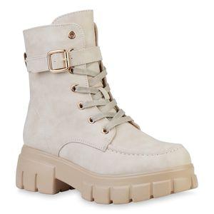VAN HILL Damen Plateau Boots Leicht Gefüttert Stiefeletten Schnallen Schuhe 835549, Farbe: Beige, Größe: 37