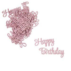 Oblique Unique Konfetti Set Happy Birthday Tisch Deko Kinder Geburtstag rosa mit Glitzereffekt