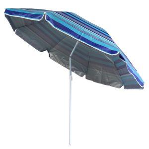 gestreifter Sonnenschirm Sonnenschutz UV-Schutz UPF 50+ 180cm aus Stahl mit Kippfunktion höhenverstellbar Strandschirm Balkonschirm Gartenschirm (Blau)
