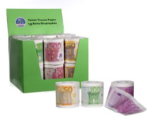6 Rollen Toilettenpapier 2-lagig mit 250 Blatt Euroscheine