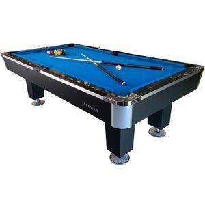 BuckShot Billardtisch 8ft Lemans 4 Leg (Blau/Schwarz) Pool mit Schieferplatte inklusive Zubehör - (240x130 cm)