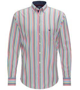 FYNCH-HATTON Freizeit-Hemd schickes Herren Button-Down-Hemd mit Streifenmuster Bunt, Größe:XL
