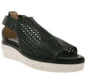 Tamaris Echtleder-Sandale elegante Damen Schaft-Sandalette mit Klettverschluss Schwarz, Größe:42