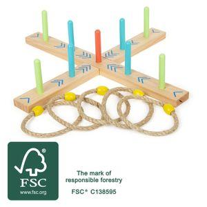 small foot 12035 Ringwurfspiel Active, aus Holz, Garten-Spiel für Kinder ab 3 Jahren