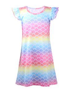 IEFIEL Mädchen Sleepshirt Nachthemden Kurzarm Pyjama,Regenbogen,Gr.134-140