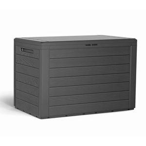 Auflagenbox Balkonbox Kunststoff Holz-Optik Anthrazit 190L