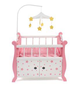 Puppenbett mit Mobile, Stars Pink