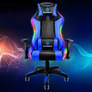 Boomersun RGB Gaming Stuhl mit LED-Licht Bürostuhl Sportsitz Verstellbarer Schreibtischstuhl Blau