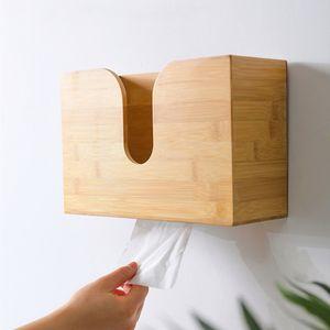 Tissue Box, Hängender Bambus Papierhandtuchspender, Handtuchhalter Papierbox Handtuchspender für Bad und Küche(19*29*11,5cm)