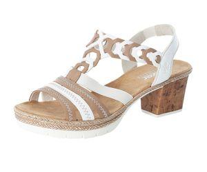 Rieker Damen Sandalen Sandaletten Slingback V2975-61, Größe:41 EU, Farbe:Beige