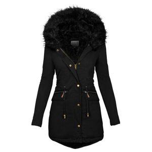 Mode Solid Women Casual Dicker Winter Slim Coat Mantel Größe:M,Farbe:Schwarz