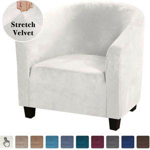 Samt Klub Sofa Stuhlbezug Einsitzer Sessel Schonbezug Stretch für Cafe Bar Haus Dekoration,Weiß