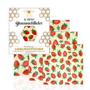 Bienenwachstücher 3er Pack - AY BINO Lieblingstücher Erdbeere Wachspapier | nachhaltige Baumwolltücher umweltfreundlich ökologisch wiederverwendbar
