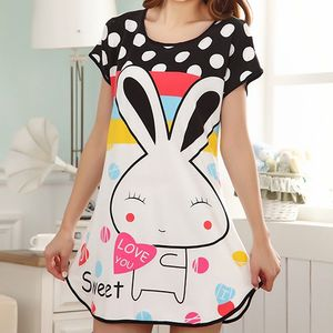 Frauen Mode Sommer Cartoon Kaninchen Polka Dot Pyjamas Kurzarm Nachtwäsche||bunt