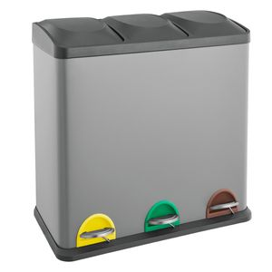 SVITA TC3X20 Treteimer grau Abfalleimer Mülleimer Mülltrennung Stahl (60L) Papierkorb