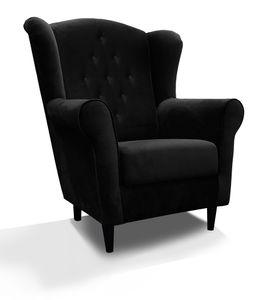 Schwarz Sessel LORD IX im Skandinavisch Stil aus Wellenfedern weich Sitze