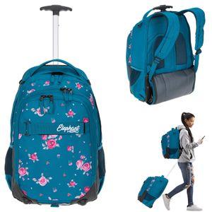 Schultrolley Mädchen Elephant Hero Signature Trolley Ranzen Schulranzen Tasche Trolly 12848 Blue Flower