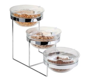 APS Buffetgestell SUNDAY 3-stufig aus verchromten Metall mit 3 Glasschalen und Klappdeckel BxTxH: 24 x 61 x 35 cm