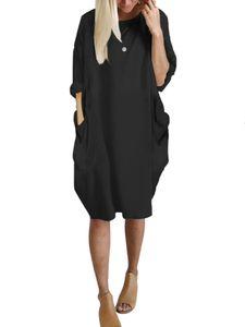 Damen Langarm Shirtkleid Freizeit Tunika Longshirt Longtop Minikleid mit Taschen Schwarz XXL