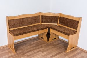 Eckbank Kiefer massiv Vollholz Erlefarben Junco 244 - Abmessungen: 85 x 111 x 151,50 cm (H x B x T)