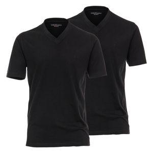 CasaModa Doppelpack V-Neck T-Shirts schwarz Übergröße, Größe:6XL